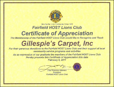 Gillespie's Abbey Carpet & Floor in Fairfield, CA proudly supports Fairfield Host Lions Club.