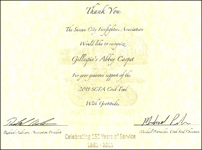 Gillespie's Abbey Carpet & Floor in Fairfield, CA proudly supports Suisun City Firefighters Association.
