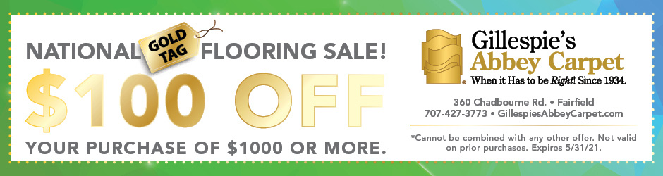 $100 off your purchase of $1000 or more during our National Gold Tag Flooring Sale