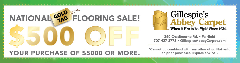 Take $500 off your purchase of $5000 or more during our National Gold Tag Flooring Sale