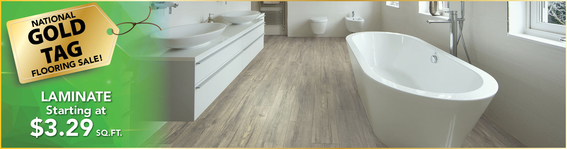 Laminate flooring on sale starting at $3.29 sq. ft. at Gillespie's Abbey Carpet & Floor